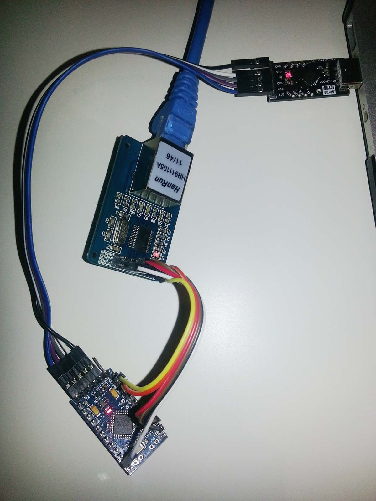 Arduino pro mini clone with ethernet connection enrico