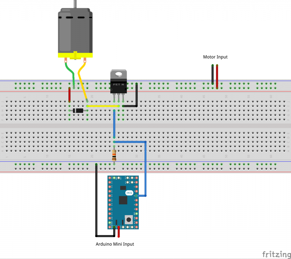 Drive a motor using an Arduino and a MOSFET