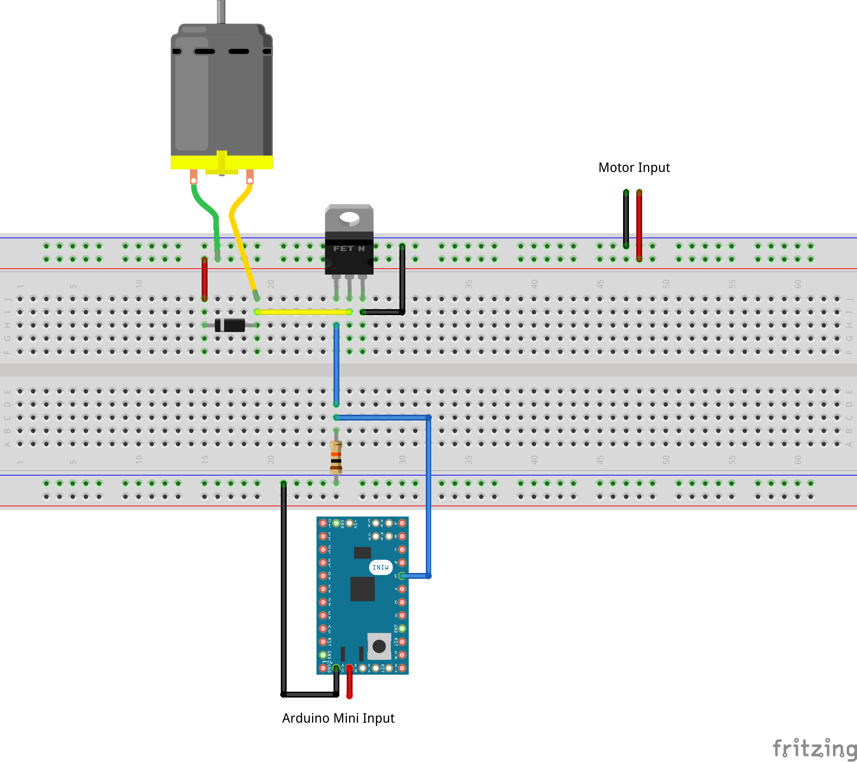 Drive a motor using an arduino and mosfet enrico