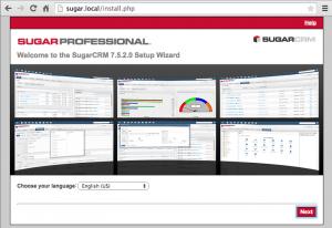 Sugar Installation Screen