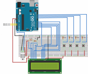 Schema of Arduino controlled two speeds fan with LCD